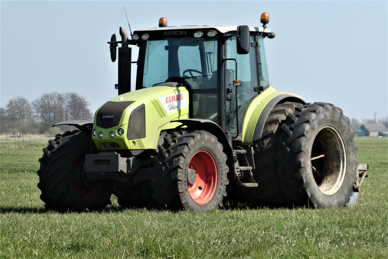 tractor, agricultural machinery, grassland